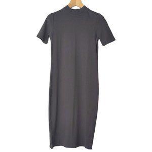 Oak + Fort Mock Neck Ribbed Midi T-Shirt Dress